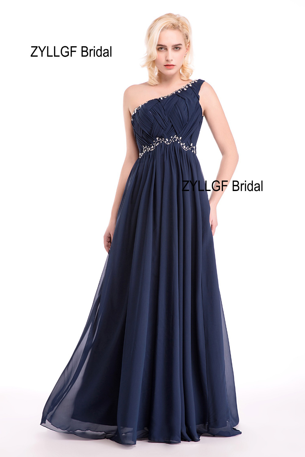 ZYLLGF Bridal One Shoulder Long Chiffon Navy Blue Evening Dresses High Quality Real Formal Women Evening Gown With Beadings 8127(China)