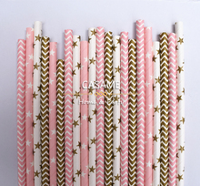 pink gold golden party Wholesale striped chevron and Polka Dot 25pcs colorful drinking paper straw strip drink paper straws(China)