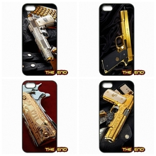 Limited Edition 24K Gold 1911 Guns Phone Cases Covers For iPhone 4 4S 5 5C SE 6 6S 7 Plus Galaxy J5 A5 A3 S5 S7 S6 Edge