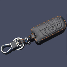 Wallet Keychain Leather For Jeep Compass Grand Cherokee Patriot Dodge Journey Chrysler 300C 5 Buttton Leather Keyring