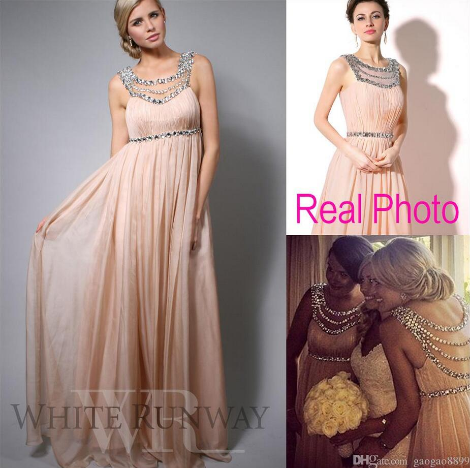 Online buy wholesale maternity wedding dress guest from china crystal long bridesmaid dresses beaded chiffon sheer neck blush wedding guest bridal party prom gowns plus ombrellifo Gallery