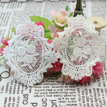 8.4CM*7.7CM 100% Cotton Flowers Mirror Embroidery Antique White Lace Applique Pieces Accessories 081(China)