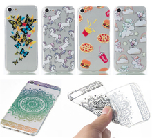 Gradient Color Paisley Henna Flower Unicorn Chips Pizza Butterfly Soft TPU Case Back Cover For iphone 7 7 Plus,5 5S SE 6 6s Plus
