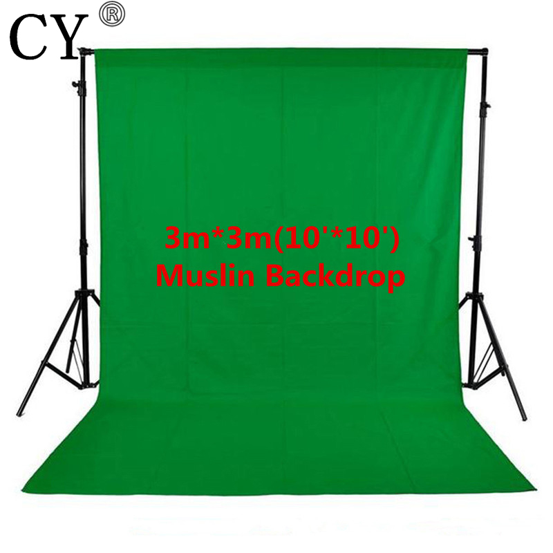 CY Photo Studio 100% Cotton 3m x 3m Solid Green Screen Muslin Backdrop Photography Backgrounds Backdrops<br>