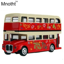 Newest 1:32 London Double Decker Bus Model Diecast with Pull Back Light and Music Alloy Toys for Kids Gifts and Collection(China)