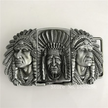 New Style Native American Indian Chief Lighter Belt Buckle 105*61mm 173.3g Silver Metal For 4cm Wide Belt Men Jeans accessories