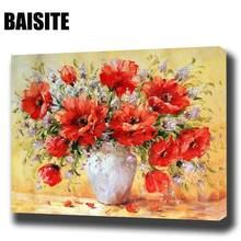 BAISITE DIY Framed Oil Painting By Numbers Flowers Pictures Canvas Painting For Living Room Wall Art Home Decor E782(China)