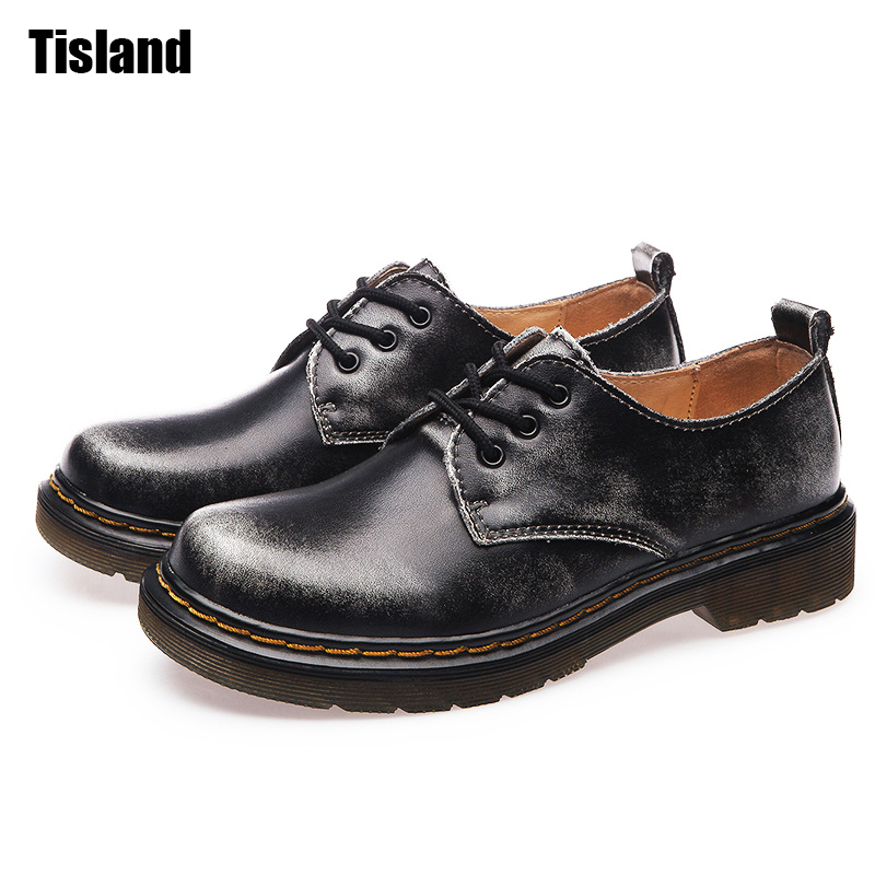 New Women Oxfords Spring Autumn Real Leather Shoes Flats Round Toe Creepers Ladies Retro Casual Shoes Woman Plus Size 35~44<br>