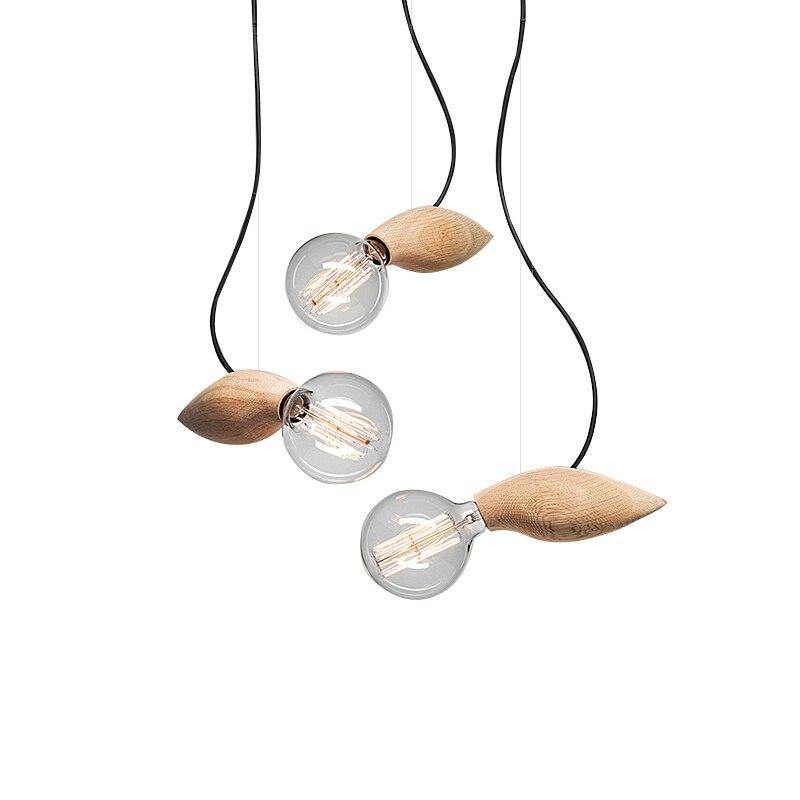 Vintage Pendant Light Oak Wood Retro Lamp E27 Socket Wood Lamp Holder Hanging Light Fixture Restaurant Home Decorative Light<br>
