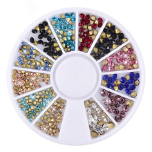 2mm & 3mm Colorful Cone DIY Wheel 3D Tips Stud Drill Shine Rhinestone Crystal Glitter Acrylic Metal Nail Art Decoration Manicure(China)