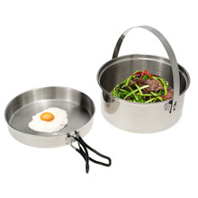 Outdoor Pot Pan Mesh Bag Camping Hiking Cookware Backpacking Cooking Picnic Pot Set Foldable Handles Cooking Bowl Pot Pan Set(China)