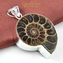 New Arrival Unique  Jewelry Natural Ammonite gems Pendant 100% Hand Made Free Shipping