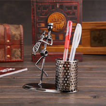 Popular Creative metal makeup brush pen holder Vase Pencil Pot Desk Tidy Container office supplier business craft Gift