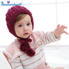 Bnaturalwell Baby Crochet Hat Pattern Toddler girls winter hat with Earflapper Photo prop Earflap hat Knit bonnet 1pc H043