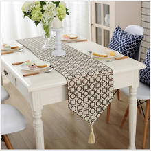 Simple geometric patterns jacquard table runner. Exquisite table cloth. Classic beige and pastel blue table runner tablecloth.