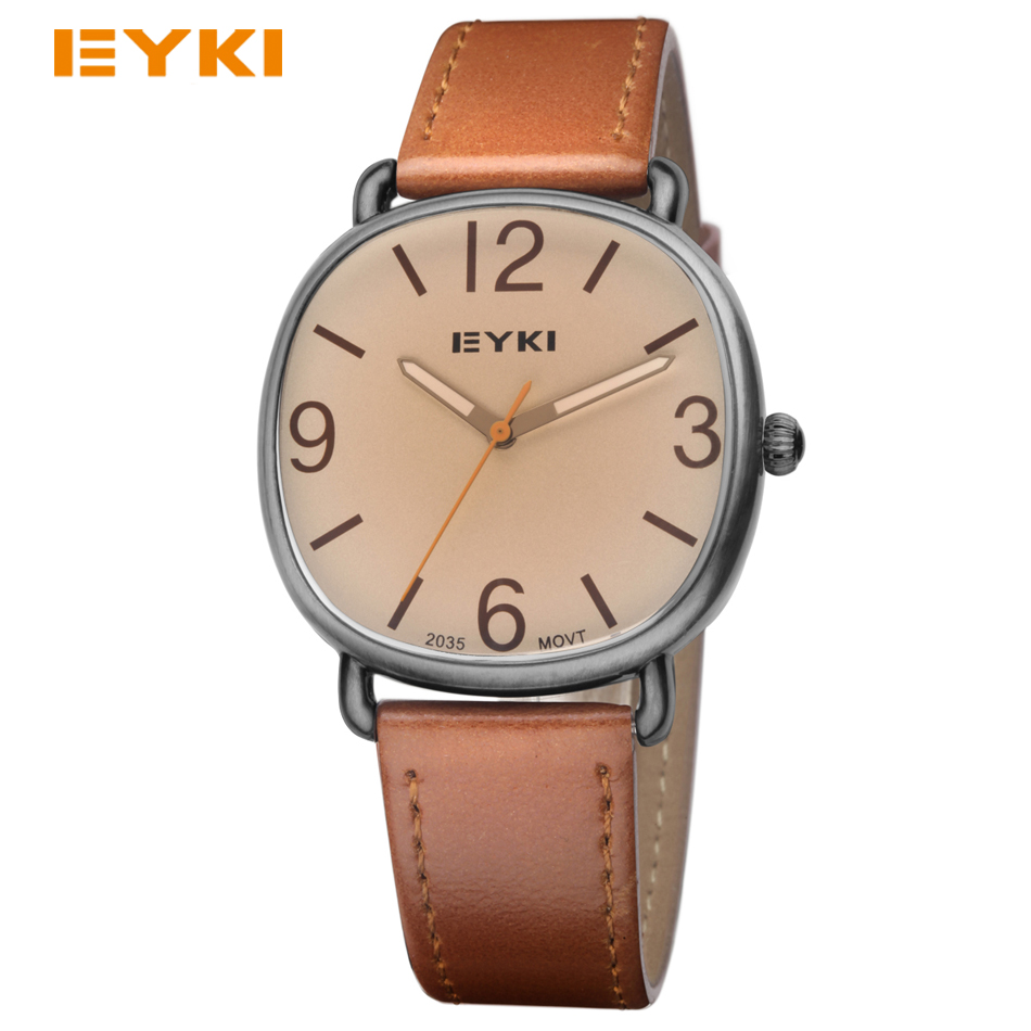 2017 EYKI Womens Antique Watches Luxury Fashion Brand Square Dial Leather Strap Casual Quartz Wrist Watches<br><br>Aliexpress
