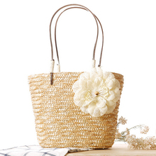 lady summer beach bag women candy color big drawstring straw bag new cool flower holiday beach bag straw bolsa de praia 2016