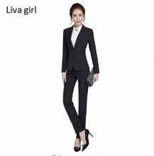 High-grade Two Piece Formal Pant Suit Ladies For Wedding Office plus size Uniform Designs Gray Women Business Suits For work(China)