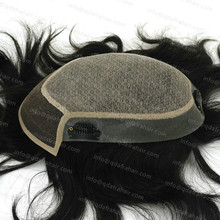 Natural Silk Mens 100 European Real Hair Wigs Custom Toupee With Clips Hair System H032