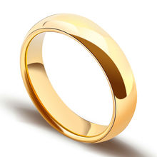 New Fashion Free Shipping Size 5-14 Gold Plating Tungsten Ring Woman Man's Dome Band Comfort Fit Wedding Rings Couples Jewelry(China)