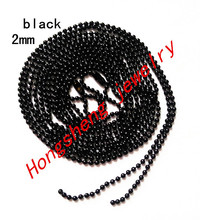 Wholesale black color 70cmx2mm 100 pcs/lot Long:70cm, Beads:2mm ,Ball Chain Necklace W / Connector