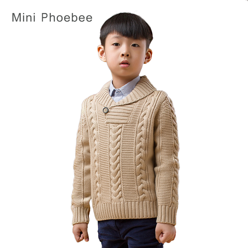 Merino wool brand phoebee sweater 2-8 years Turtleneck for a boys sweaters kids winter solid Khaki knitted cardigan with pockets<br>