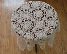 Hand crochet Flower Tablecloths Square Table cloth Cotton Doilies Sofa cover towel Furniture Cover cloth(China)