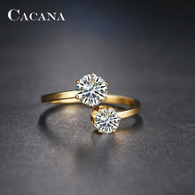 CACANA Stainless Steel Rings For Women  Wedding Ring Double Cubic Zirconia Fashion Jewelry Wholesale NO.R190 191