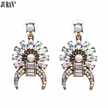 JURAN Unique Geometric Dangle Earrings For Women Statement Simulated Pearl Jewellery Trendy Crystal Brincos Charm Accesories