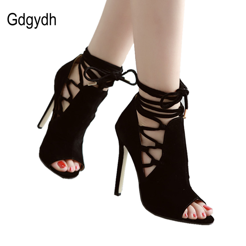 Gdgydh Spring Summer Lacing Women Ankle Boots Fashion Cut-outs Open Toe Thin High Heel Female Sandals Sexy Office Ladies Pumps<br><br>Aliexpress