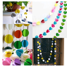3m Cube Heart Round Long Paper Garland Ornaments Curtain Wall Holiday Party Wedding Room Decor Home Wall Decorations