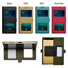 New Arrival Fashion Dual Windows Universal Flip Case Cover For Nomi i503 Jump Mobile Phone #F3