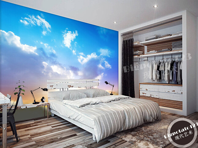 Custom natural wallpaper, blue sky and white clouds murals for the living room bedroom TV background wall PVC papel de parede<br>