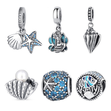 Authentic 925 Sterling Silver Beads Sea Ocean Life Starfish Shell Crystal Charms Fit Pandora Bracelets & Bangles DIY Jewelry(China)