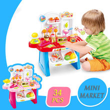 Cheapest in Ali! High Quality Mini Super Market, With Cash Register, Two Colors To Choose: Blue & Pink, Best Gifts For Children(China)