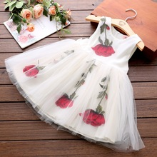 cute Embroidery Rose princess dress girls costumes 2017 summer kids dresses for girls clothes children mesh tutu dresses