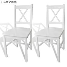 iKayaa 2 Pcs white dining chairs made of pine wood Chairs For Dining Room ES Stock