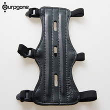 Ourpgone High Quality Shooting Archery Arrow Leather 3 Strap Shooting Target Archery Arm Guard Protection Safe Strap Armband