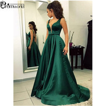 Emerald Green Muslim Evening Dresses 2019 A-Line V-Neck Satin Dubai Saudi  Arabic Backless Long Evening Gown Simple Prom Dress 6852f6dbc8ce