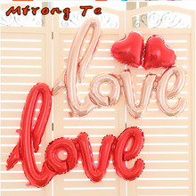 Mtrong Te LOVE Letter Foil Balloons Anniversary Wedding Valentines Party Decoration Balloon Red rose gold love balloons