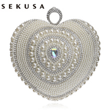 SEKUSA heart shaped women evening bags beaded small purse day clutches evening bags finger ring rhinestones wedding handbag(China)