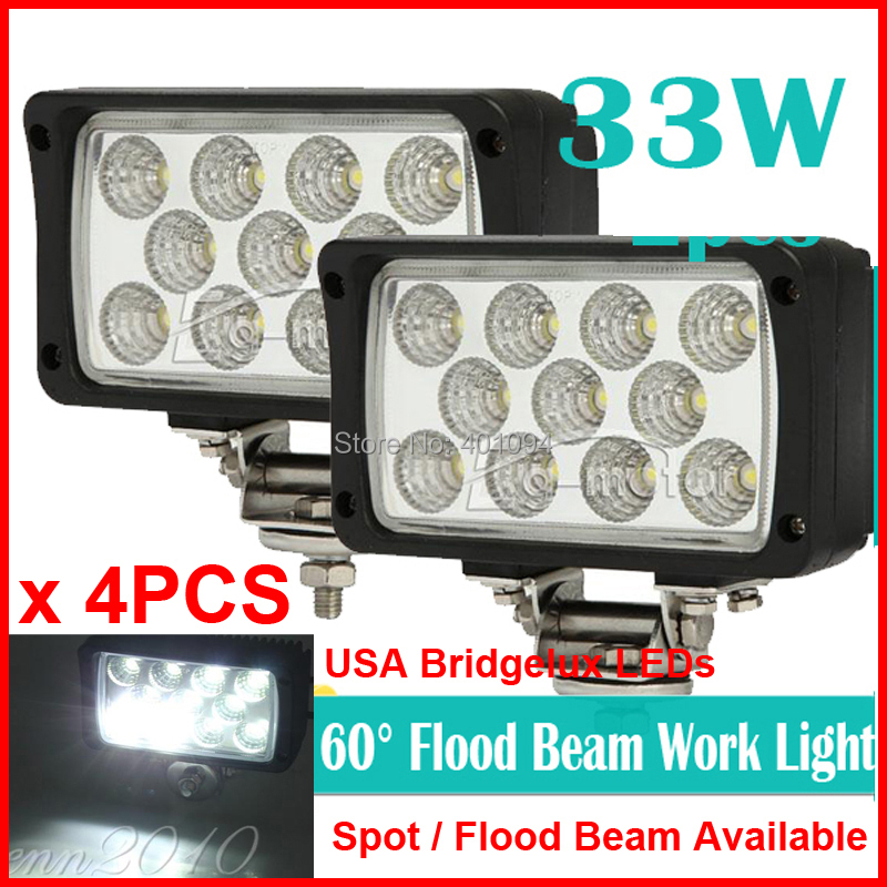 4PCS 6 33W 11LED*3W Bridgelux Driving Work Light OffRoad SUV ATV 4WD 4x4 Spot /Flood Beam 9-32V 2500lm Rectangle High Power<br><br>Aliexpress