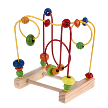 Wooden Mini Around Beads Wire Maze Wooden Math Toddler Toys Children Early Education Ability Brain Hand Training Development Toy