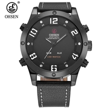 Top Brand OHSEN Fashion Dual Time LED Quartz Clock Leather Waterproof Male Digital Watch Business Anolog Wristwatch Montre Homme(China)