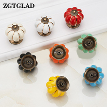 1 Pcs Modern Kitchen Pumpkins Handles Pull Drawer Knobs Coloured Porcelain Cupboard Drawer Dresser Knobs Pull Handle(China)