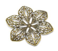 "Doreen Box Lovely Antique Bronze Filigree Flower Wraps Connectors 6x5.3cm(2-3/8""x2-1/8""), sold per lot of 30 (B16294)"