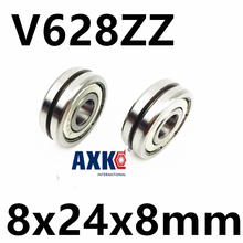 V628ZZ Outer ring V grooved straightener guide wheel bearings 8x24x8mm pulley bearings V groove width 1.5 mm(China)