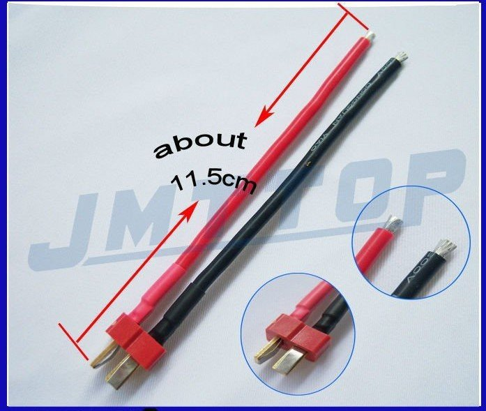 F02105 1 pcs Deans Style T Plug Male Connector Silicone Wire With 11.5CM 14awg + FS<br><br>Aliexpress