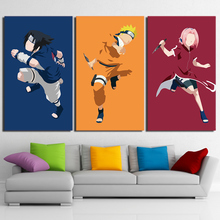 Home Decoration Living Room Wall HD Printed Pictures 3 Panel Animation Role Naruto Art Painting Modular Canvas Poster Framework