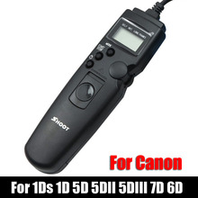 Shoot TC-80N3 LED Selfie LCD Timer Remote Control Shutter Release Cable For Canon EOS 1Ds 1D 5D 5DII 5D III 7D 6D DSLR Camera(China)
